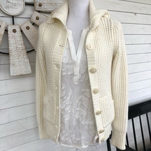 Ivory Chunky Knit Button Up Cardigan Sweater